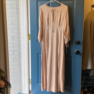 Free People pale pink long sleeve maxi dress